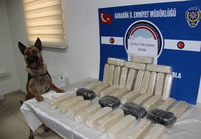 Karabük'te 21 Kilo Eroin Ele Geçirildi