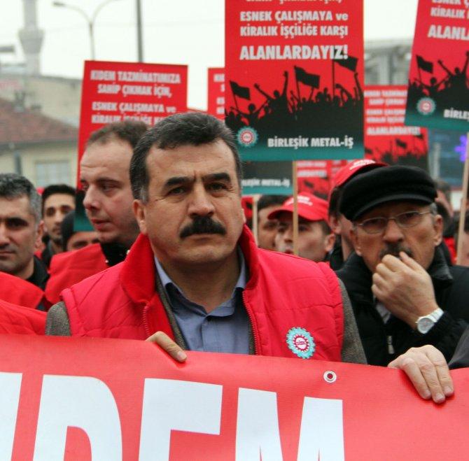 Metal işçileri kıdem tazminatı ve kiralık işçi uygulaması için yürüdü