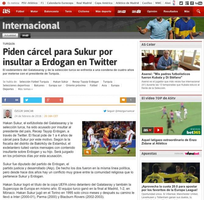 Erdoğan'ın Hakan Şükür'e açtığı dava İspanyol basınında