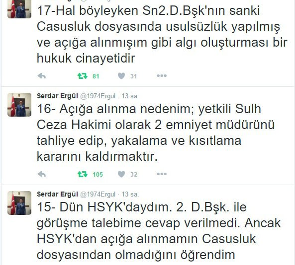 HSYK 2. Daire Başkanı'nın o tweti algı çıktı