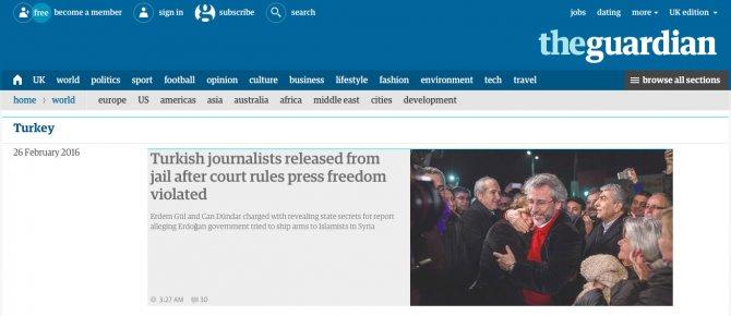 Can Dündar ve Erdem Gül'ün tahliye kararı İngiliz basınında