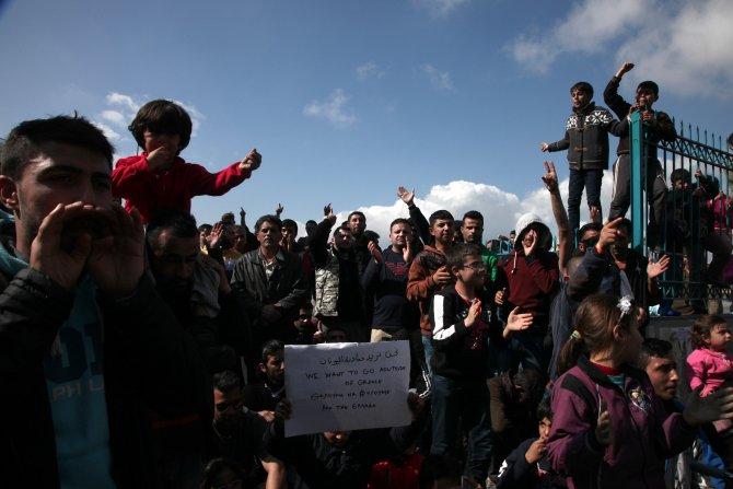 """""""Makedonya'ya gitmek istiyoruz"""" diyerek gösteri yaptılar"""