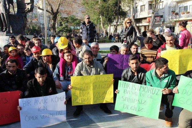 Maden işçileri emzikli çocuklarıyla eylem yaparak maaşlarını istedi