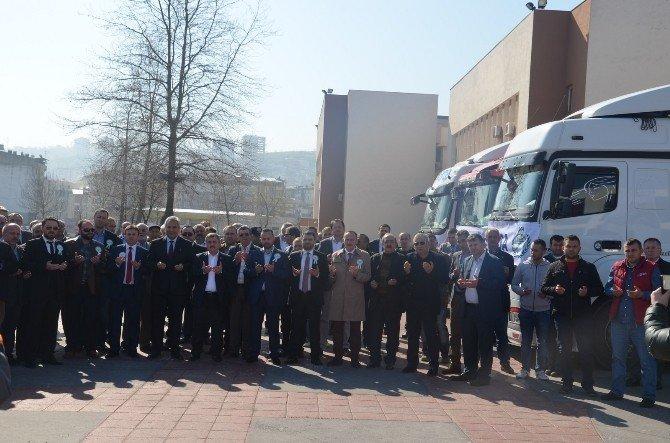 Fatsa'dan Bayır Bucak Türkmenlerine 3 Tır Gıda Yardımı