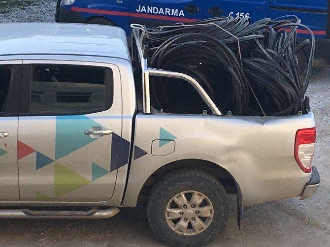 3 Kilometre Telefon Kablosu Çalan Hırsızlara Suçüstü