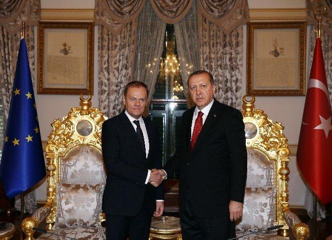Cumhurbaşkanı Erdoğan, AB Konseyi Başkanı Tusk'ı Kabul Etti