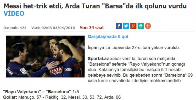 Arda Turan'ın golü Azerbaycan basınında