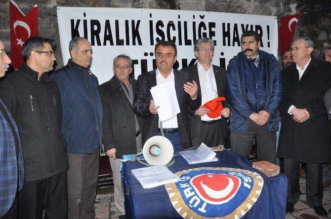 """Türk-iş Afyonkarahisar İl Temsilciliği Üyeleri Kiralık İşçiye """"Hayır"""" Dedi"""