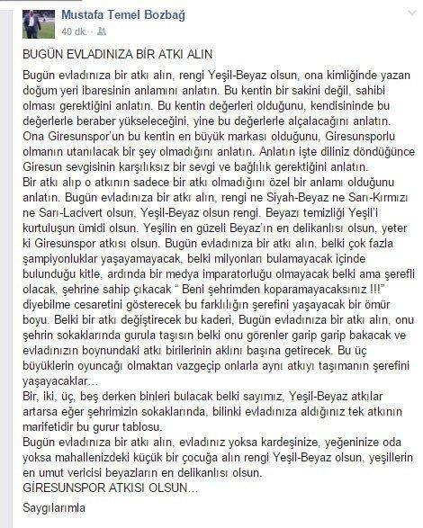 Başkan Bozbağ'dan Taraftara Duygusal Mesaj