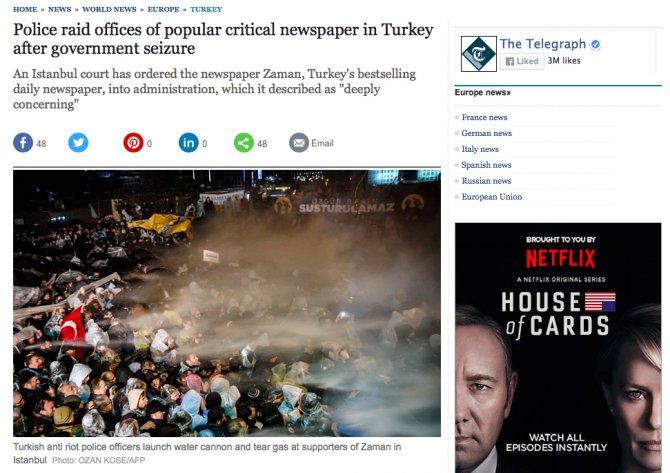 İngiliz basını: Zaman baskını sırasında polisten biber gazı müdahalesi