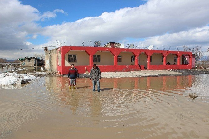 Kar Suları, Tarım Arazileri Ve Evleri Su Altında Bıraktı