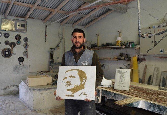 Cumhurbaşkanı Erdoğan'ın Portresini Mermere İşledi