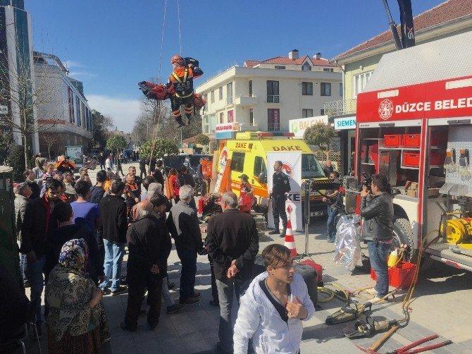Düzce İtfaiyesi Deprem Tatbikatı Yaptı