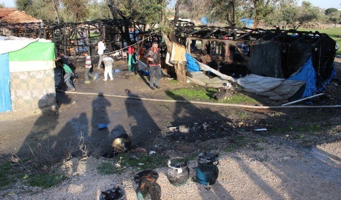 Suriyelilerin Kaldığı Çadırlar Yandı: 1 Yaralı