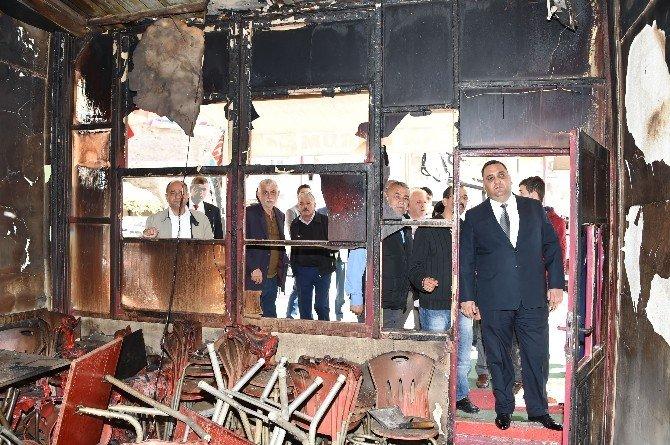 Başkan Can'dan, İş Yerleri Yanan Esnafa Ziyaret