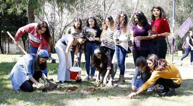 Kız Öğrenciler Öldürülen Kadınlar İçin Fidan Diktiler