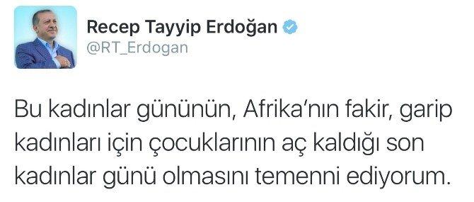 Cumhurbaşkanı Erdoğan'dan '8 Mart' Tweeti