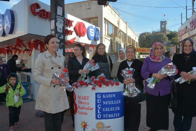 AK Kadınlar Karanfil Dağıttı