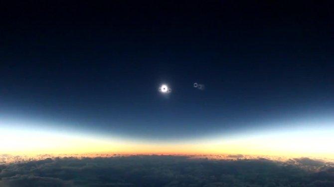 Güneş tutulması yolcu uçağından böyle görüntülendi