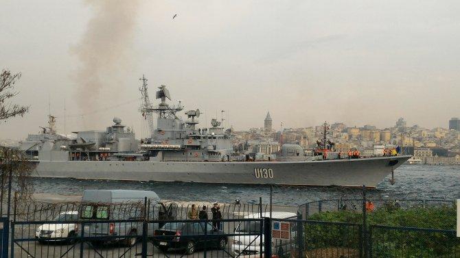 Ukrayna savaş gemisi Sarayburnu'na demir attı