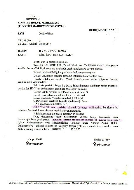 Erzincan'da Verilen Karar Milyonları Alacaklı Yaptı