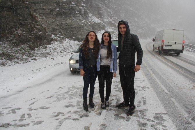 Artvin Cankurtaran Geçidi'nde Kar Yağışı Başladı