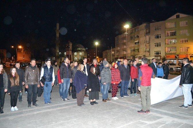 Alaçam'da Teröre Tepki Yürüyüşü