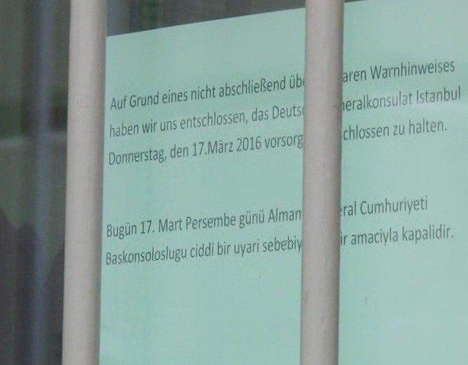 Alman Başkonsolosluğu Güvenlik Nedeniyle Kapatıldı