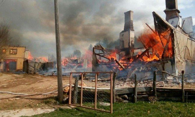 Kastamonu'da 3 Ev Yandı, 15 Büyükbaş Hayvan Telef Oldu