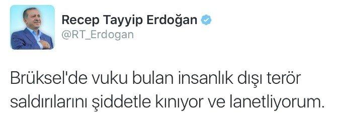 Cumhurbaşkanı Erdoğan, Brüksel'deki Terör Saldırılarını Sosyal Medyadan Kınadı