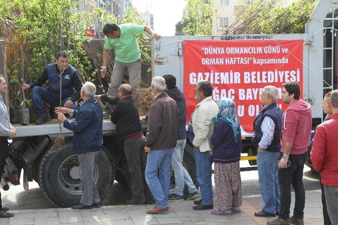 Gaziemir'de 3 Bin Meyve Fidanı Dağıtıldı