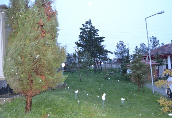 Havza'da kar yağışı