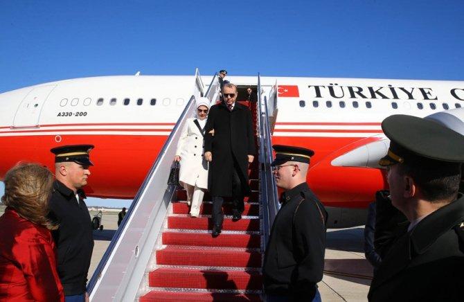 Cumhurbaşkanı Erdoğan'a Washington'da coşkulu karşılama
