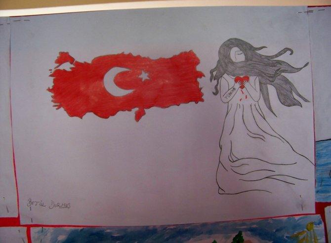 Suriyeli öğrenciler açtıkları resim sergisinde barış istedi