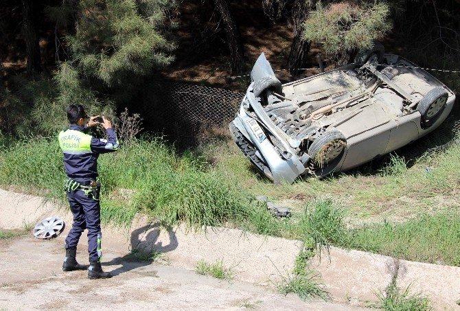 Sürücüsü Uyuyan Otomobil Takla Attı