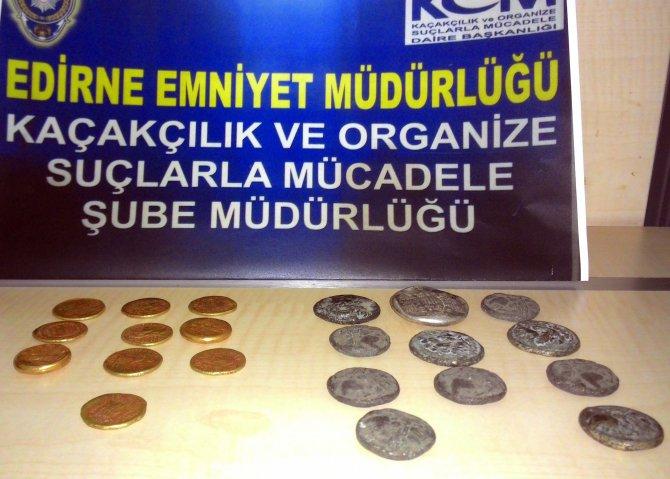 Edirne'de 21 adet sikke ele geçirildi