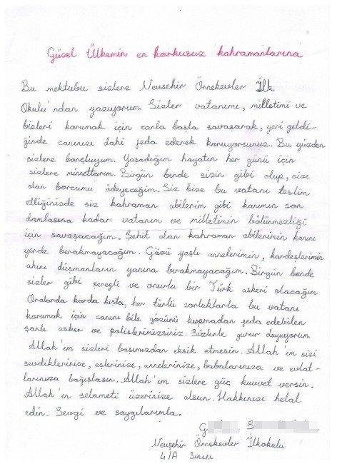 Minik Öğrencilerden Asker Ve Polise Duygu Dolu Mektup