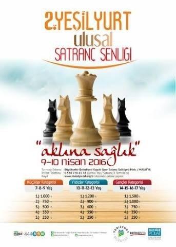 2.yeşilyurt Ulusal Satranç Şenliği 9-10 Nisan'da Yapılacak