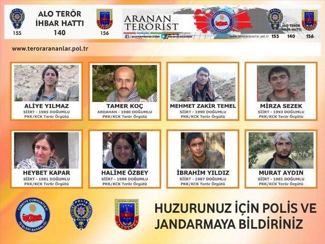 Siirt Valiliği 'Aranan Teröristler' Listesini Yayınladı