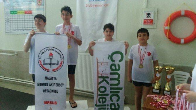 Öğrenciler, Yüzmede Başarılı Oldu