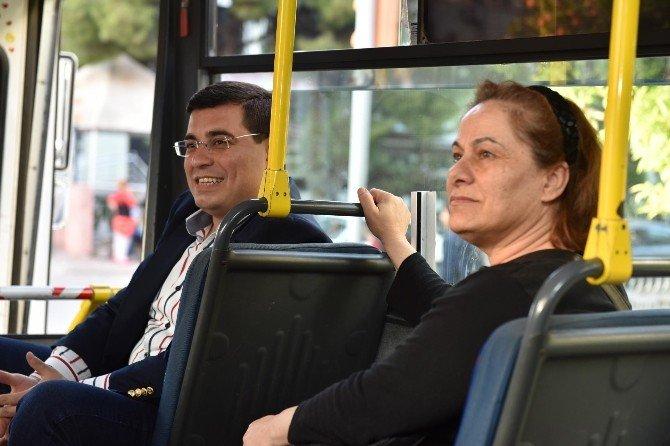 Başkan Tütüncü Tramvay Ve Otobüsten Sonra Dolmuş Yolculuğunda