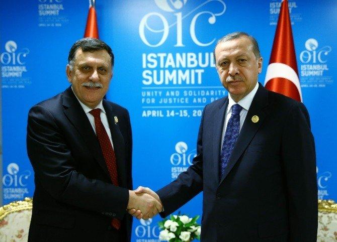 Cumhurbaşkanı Erdoğan, Fayez Serraj İle Görüştü