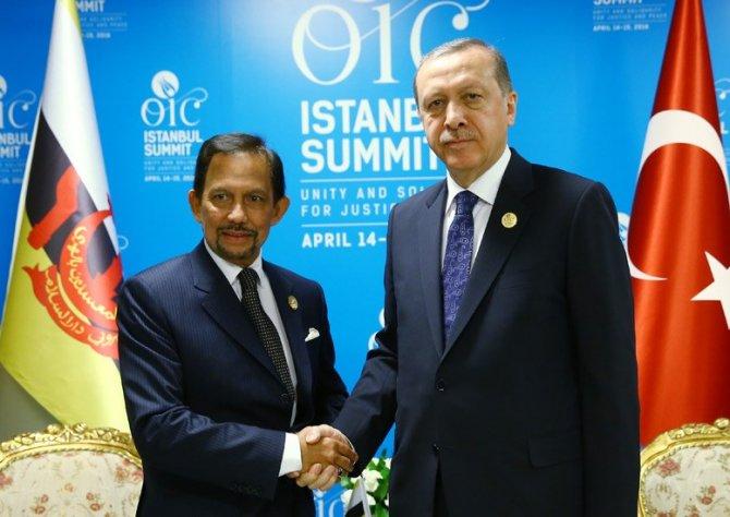 Cumhurbaşkanı Erdoğan, Brunei Sultanı Bolkiah ile görüştü