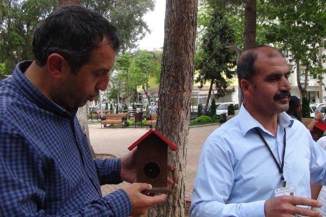 Lise Öğrencileri Kendi Yaptıkları 100 Adet Kuş Yuvası Ağaçlara Astı