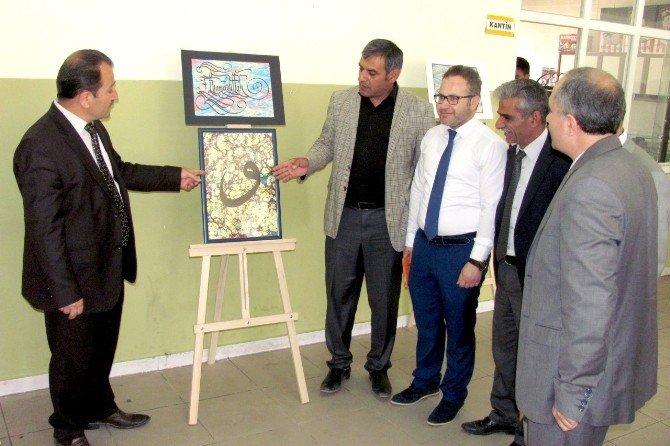 Lise Öğrencileri, Okullarında Kaligrafi Ve Ebru Sanatı Sergisini Görücüye Çıkardı
