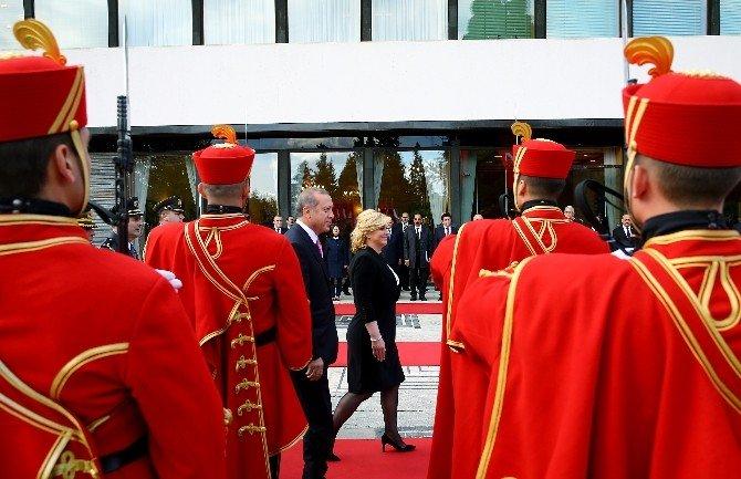 Cumhurbaşkanı Erdoğan, Hırvatistan'da Resmi Törenle Karşılandı