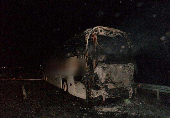 Hareket Halindeki Yolcu Otobüsü Yandı