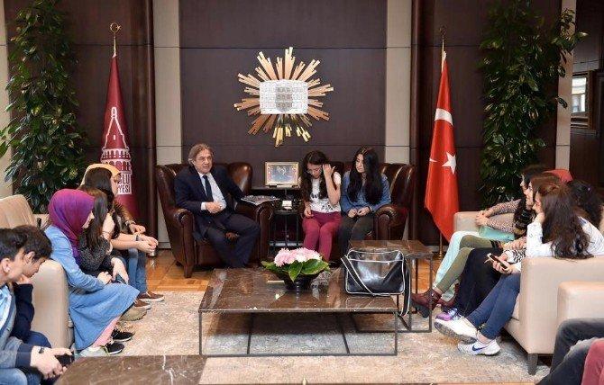 TEOG Sınavı Öncesi Öğrencilerden Başkan Demircan'a Ziyaret