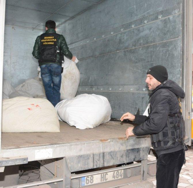 Aksaray'da 1 ton 180 kilo esrar yakılarak imha edildi