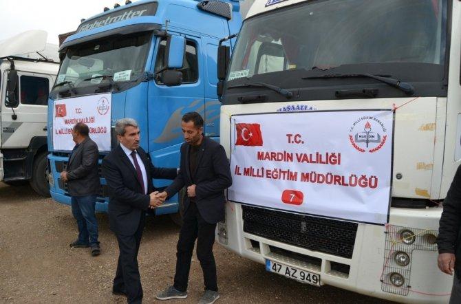 Mardin'den El-Bab'a 10 tır kırtasiye yardımı